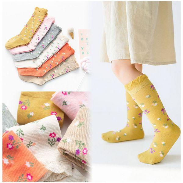 現貨 小碎花泡泡花邊中長筒襪-一組五雙 小碎花泡泡花邊中長筒襪,韓國童襪,女童長襪