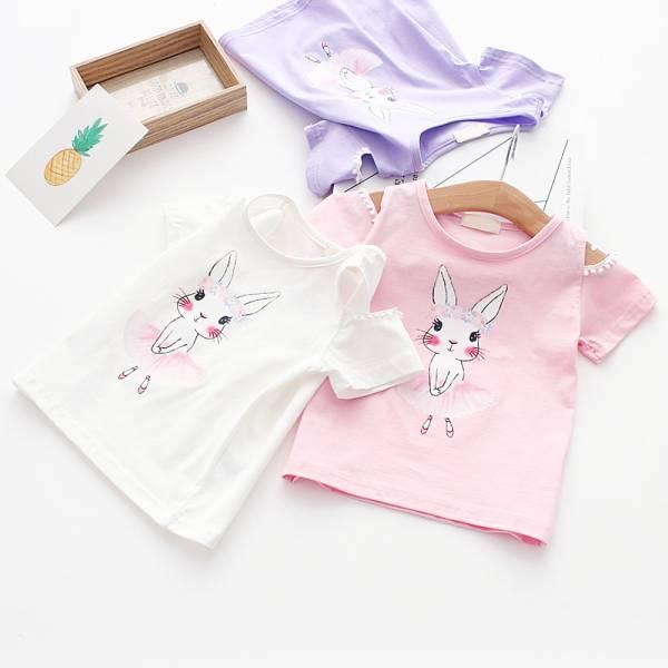 現貨 小兔印花露肩上衣 女童短袖T恤-共兩色 現貨,印花露肩上衣,女童短袖T恤