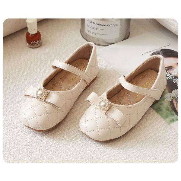/大童/珍珠菱格紋氣質娃娃鞋-米白