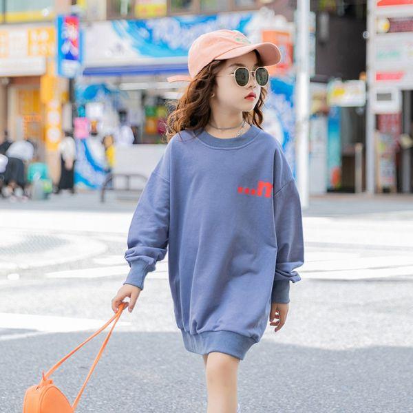 /大童/運動風長版上衣 親子裝-藍色 女童長版上衣,兒童長版上衣,親子長版上衣,秋冬親子裝