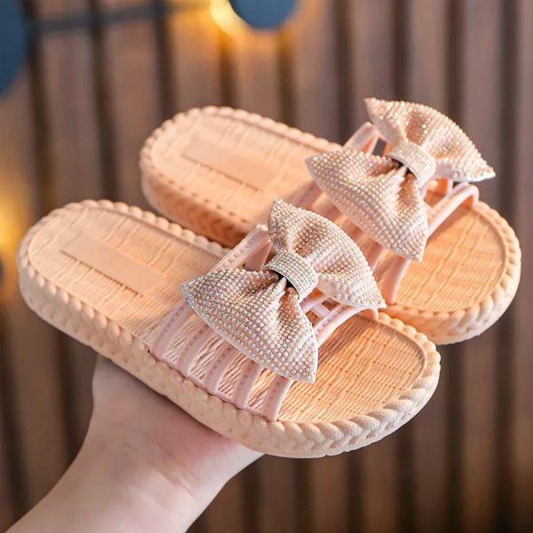 /大童/蝴蝶結防水拖涼鞋-粉色