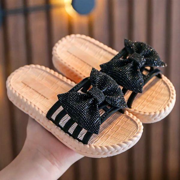 /大童/蝴蝶結防水拖涼鞋-黑色