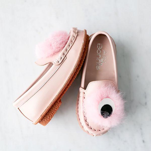 現貨親子鞋 毛毛眼球女童娃娃鞋-粉色 女童娃娃鞋,台灣製造,親子鞋