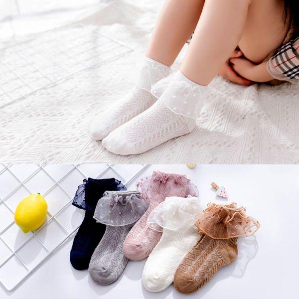 女童中筒襪 初秋薄款 點點蕾絲花邊中筒襪-一組五雙 女童中筒襪,初秋薄款,花邊中筒襪