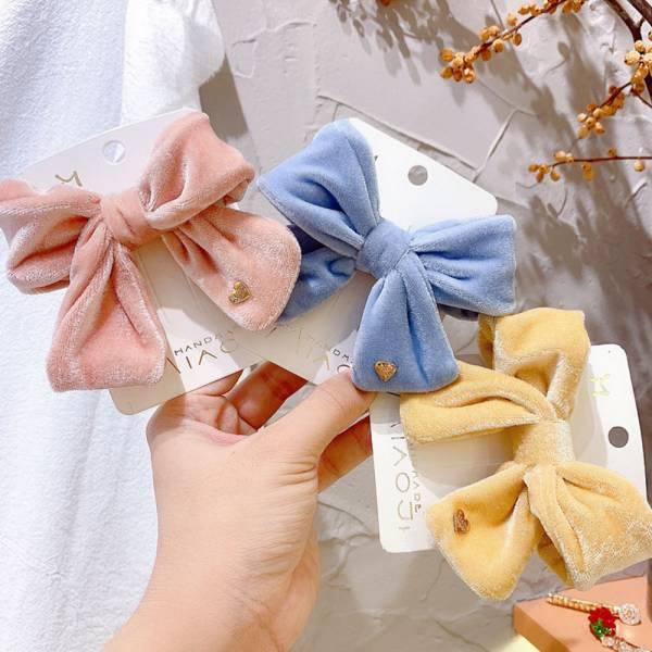 兒童專用髮夾 秋冬感絲絨蝴蝶結髮夾-共六色