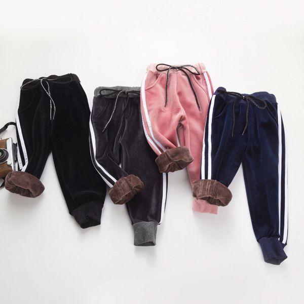 現貨 加絨運動風休閒褲-粉色 女童加絨運動褲,女童休閒褲
