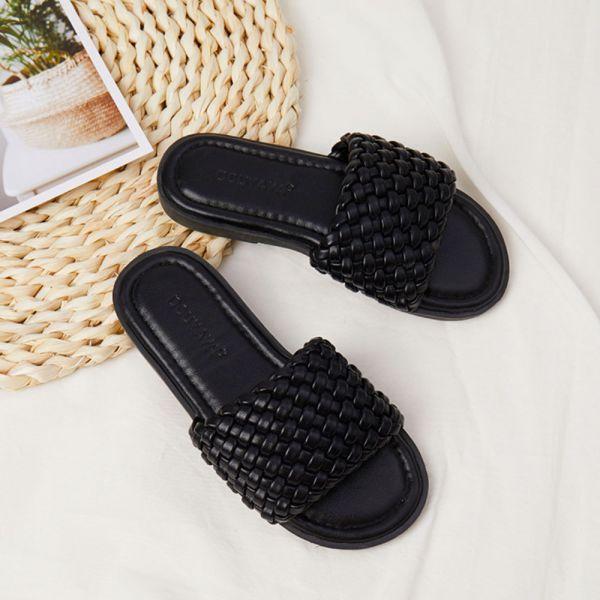 /大童/渡假風女童編織拖涼鞋-黑色