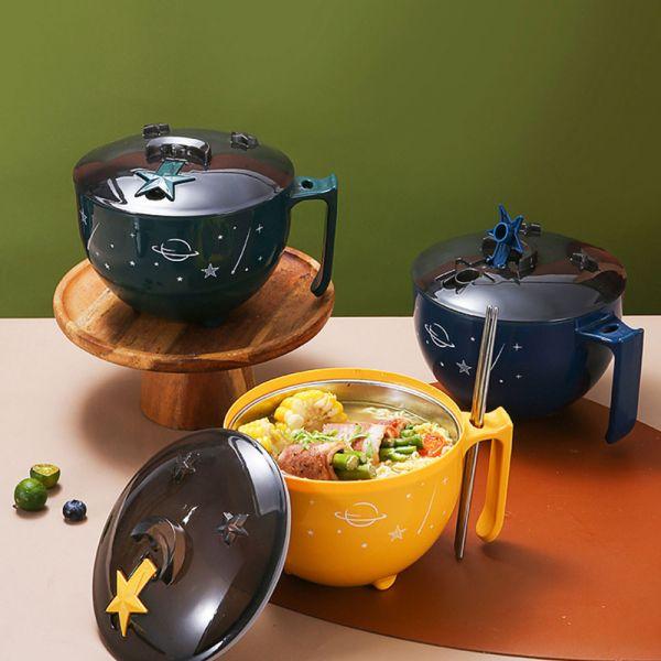 星星造型 不鏽鋼隔熱防燙泡麵碗-共三色