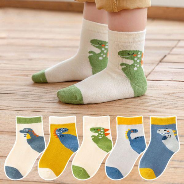 秋款恐龍男童短襪-一組五雙