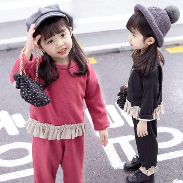 現貨 荷葉下擺加厚套裝 保暖童裝-共兩色 韓版童裝,兒童運動風長褲,兒童加厚套裝,加厚女童套裝