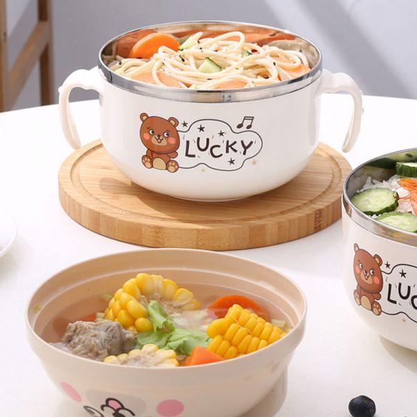 用餐好物 可愛小熊不鏽鋼隔熱碗-共三色