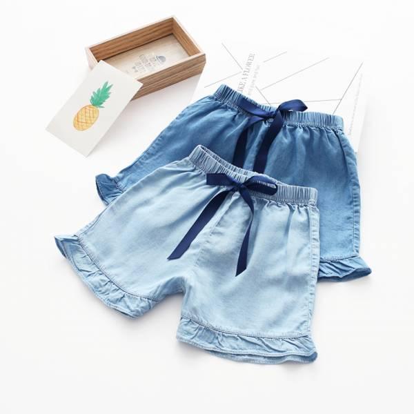 現貨 蝴蝶結牛仔短褲 女童短褲-深藍 牛仔短褲,女童短褲