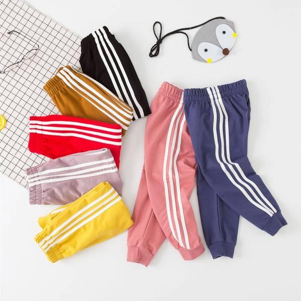 現貨 /大童/運動風條紋休閒棉褲-藍色