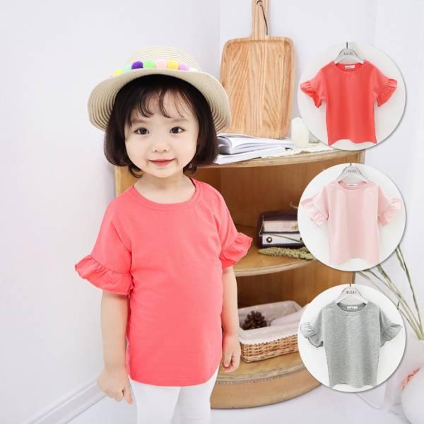 現貨 女童短袖T恤 波浪袖上衣-共三色 女童短袖T恤,波浪袖上衣