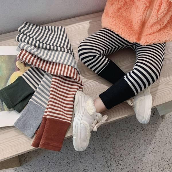 保暖加絨 條紋百搭休閒內搭褲-共四色