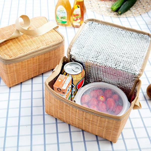 生活小物 仿編織野餐保溫袋 便當袋-共一色