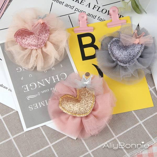 現貨 兒童飾品 愛心網紗髮夾-共兩色 兒童飾品兒童,髮夾,韓國兒童飾品