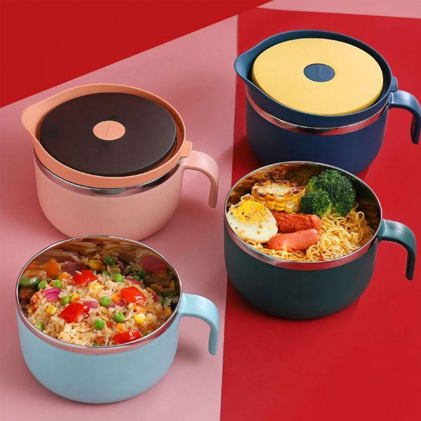 304不鏽鋼隔熱防燙泡麵碗-共四色