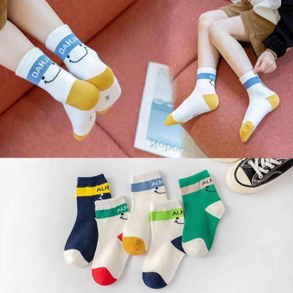 秋冬薄款 微笑休閒中筒襪-一組五雙 兒童短襪