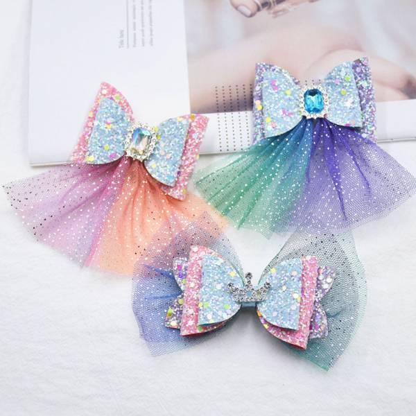 亮晶晶網紗蝴蝶結髮夾-共四色 兒童髮夾,公主髮夾,艾莎髮夾,金蔥髮夾,女童髮夾