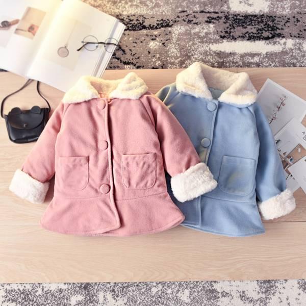 現貨 內鋪棉毛呢大衣 兒童保暖外套-共兩色 洋裝式女童外套,鋪棉女童外套,女童鈕扣外套,女童毛圈外套