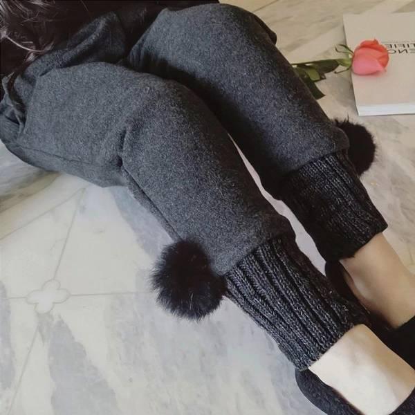 現貨 可愛立體毛球加厚縮口長褲-深灰 韓版童裝,運動風長褲,加厚長版上衣,加厚縮口長褲