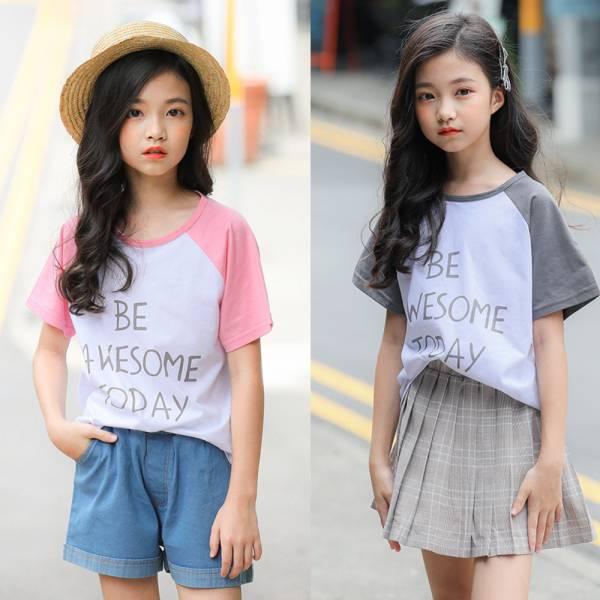 現貨 兒童短袖上衣 斜肩袖字母t恤-共兩色 兒童短袖上衣,斜肩袖字母t恤