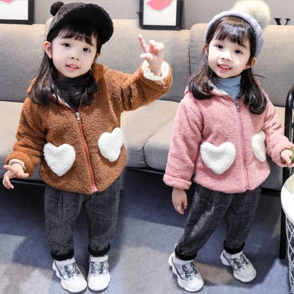 現貨 兔耳朵羊羔毛拉鍊外套-共兩色 韓版童裝,兔耳朵毛茸茸,拉鍊連帽兒童外套