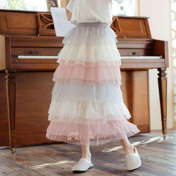 小仙女 彩虹漸層紗裙 蛋糕裙-共一色