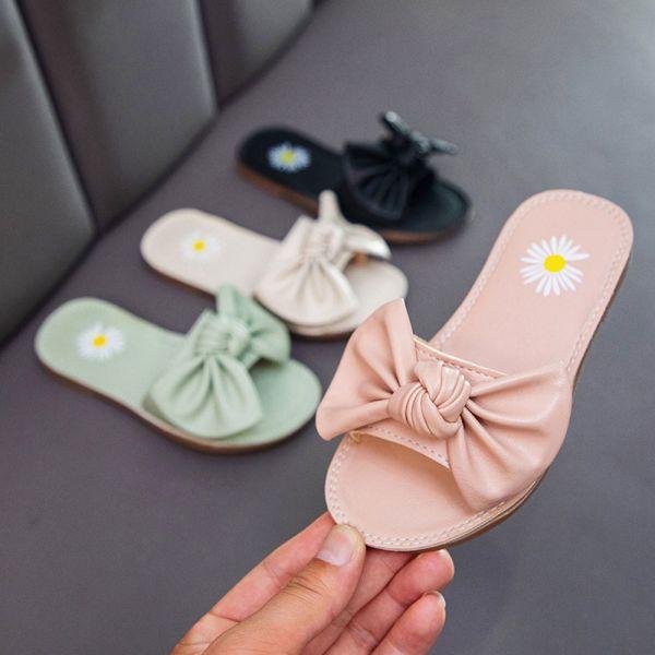/中大童/蝴蝶結軟底一字拖 女童拖鞋-粉色