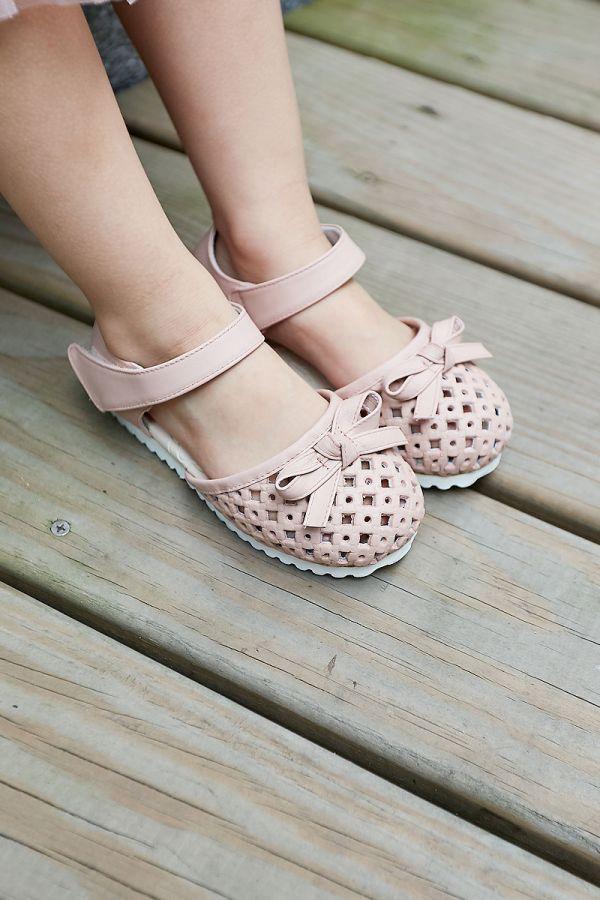 現貨 透氣摟空包趾真皮親子涼鞋-粉色 女童涼鞋,親子涼鞋