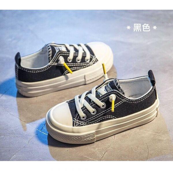 /大童/免綁鞋帶休閒帆布鞋-黑色