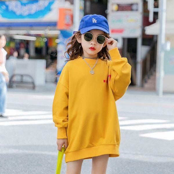 /大童/運動風長版上衣 親子裝-黃色 女童長版上衣,兒童長版上衣,親子長版上衣,秋冬親子裝
