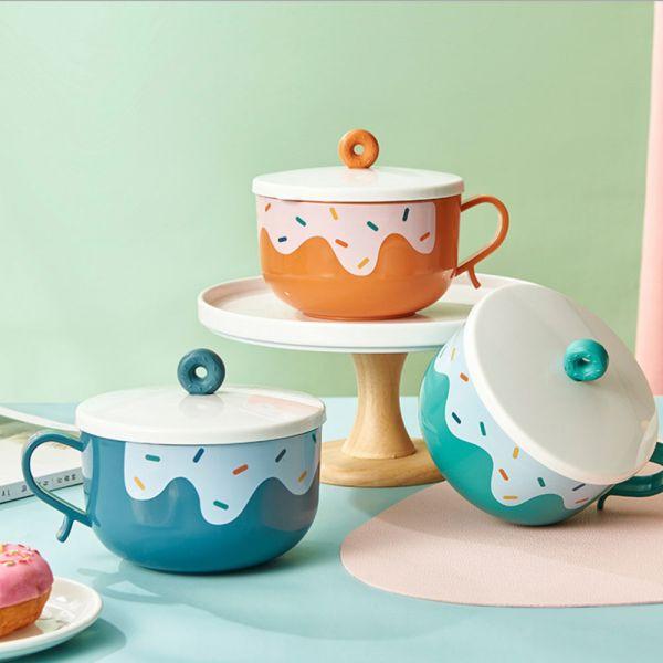 甜甜圈造型 帶蓋不鏽鋼隔熱碗-共四色