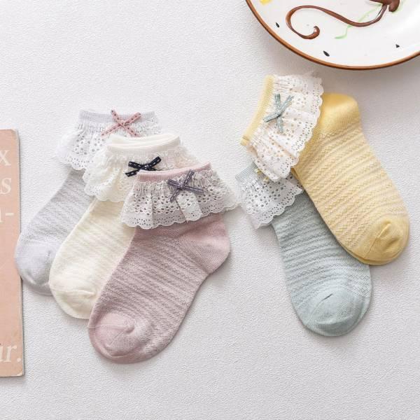 蕾絲花邊 女童夏日網眼透氣短襪-共兩色