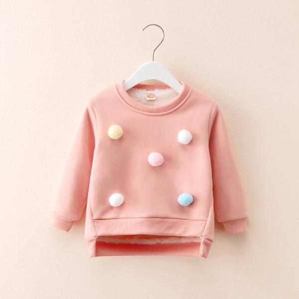 現貨 立體毛球加絨保暖上衣-共兩色 韓版童裝,可愛立體毛球,女童造型上衣,加絨刷毛長袖上衣
