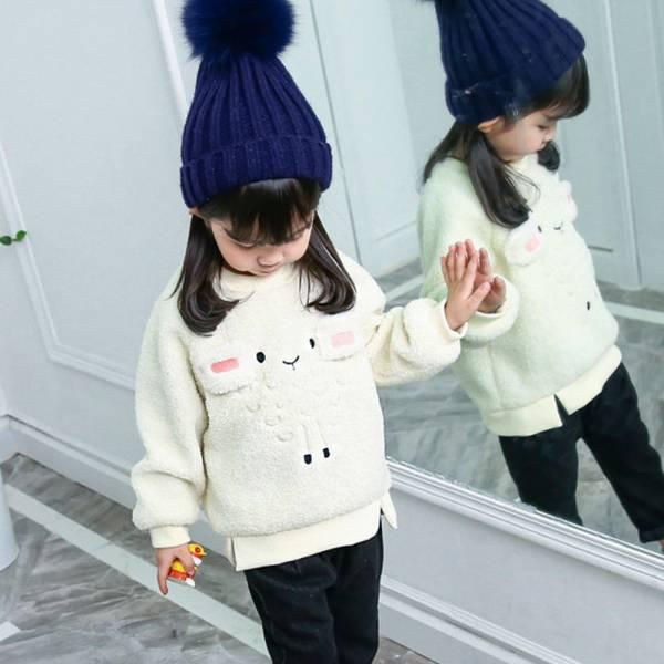 現貨 羊羔毛保暖上衣-共兩色 韓版童裝,可愛立體動物上衣,女童造型上衣,加絨刷毛長袖上衣