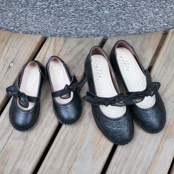 現貨 台灣製啾啾蝴蝶結女童娃娃鞋-黑色 女童娃娃鞋,親子鞋,真皮娃娃鞋,台灣製造