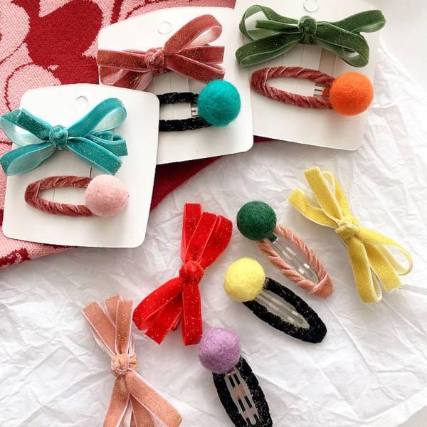 兒童飾品 金蔥絲絨蝴蝶結髮夾組-共六色