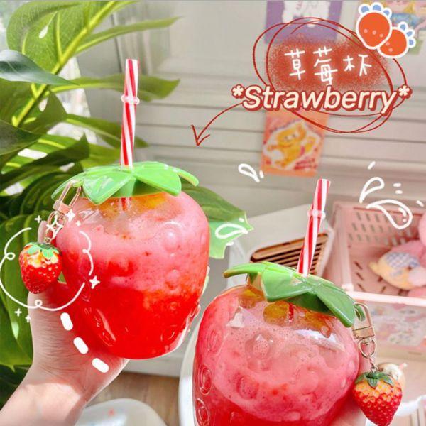 可愛造型 冷飲草莓吸管杯