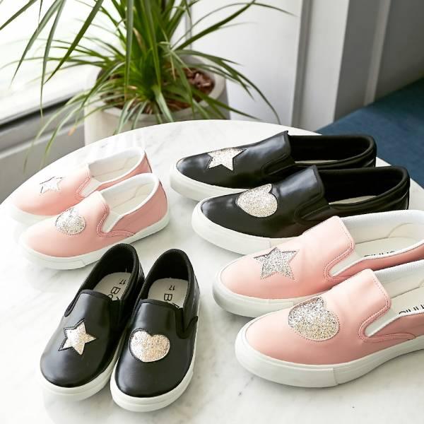 現貨 台灣製親子鞋 不對稱金蔥休閒鞋-黑色大人 台灣製親子鞋,兒童休閒鞋