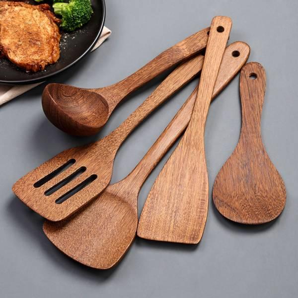 /廚房好物/不沾鍋專用 耐高溫原木廚具-一組五件