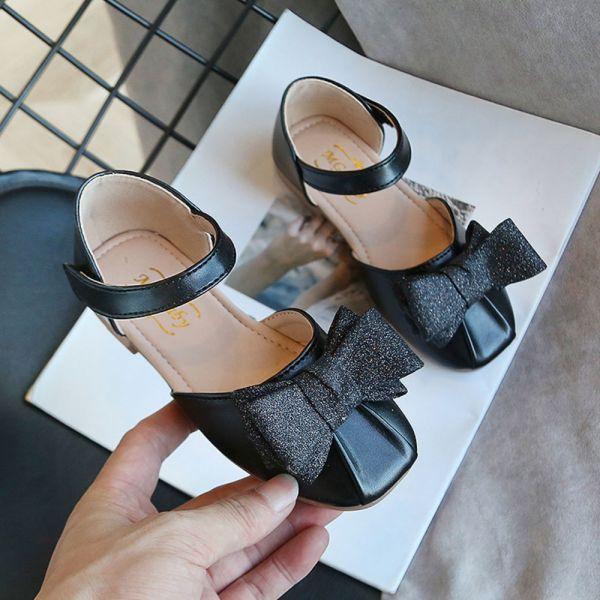 /大童/金蔥蝴蝶結包趾涼鞋-黑色