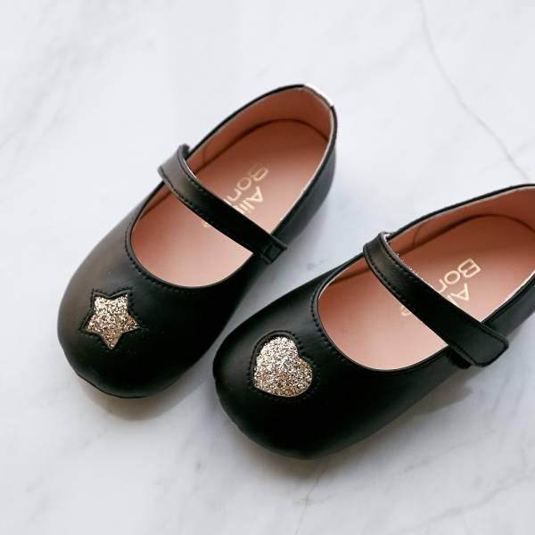 現貨 台灣製不對稱金蔥寳寳鞋娃娃鞋-黑色 台灣製,寳寳鞋,娃娃鞋,學步鞋