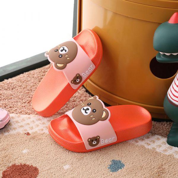 男孩女孩 可愛小熊防滑防水拖鞋-橘色
