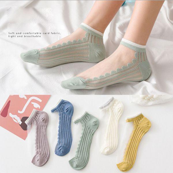 /大人/夏日涼爽透氣 玻璃絲短襪-一組五雙