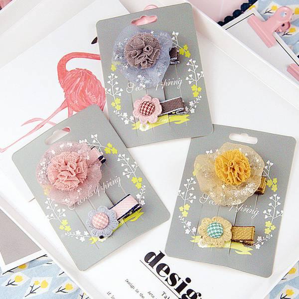 現貨 兒童飾品 網紗小花兩件組髮夾-共兩色 兒童飾品兒童,髮夾,韓國兒童飾品
