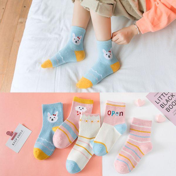 秋冬薄款 兔子圖案中筒襪-一組五雙 兒童中筒襪,女童短襪