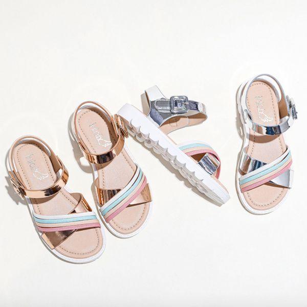現貨/大童/彩虹軟底厚底涼鞋-銀色