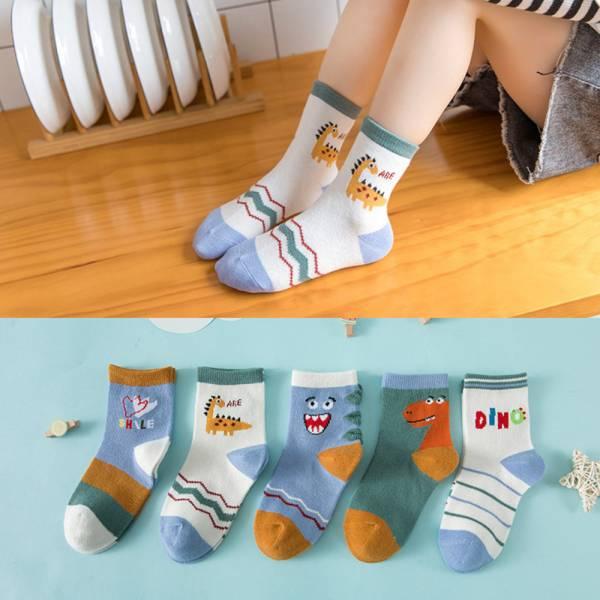 秋冬薄款 恐龍圖案中筒襪-一組五雙 兒童中筒襪,男童短襪